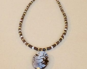 Brown Agate Pendant Necklace Brown Bead Pendant Necklace Boho Beaded Pendant Necklace Boho Chic Beaded Sweater Necklace Womens Gift For Her