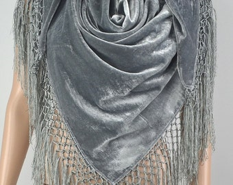 Silver velvet scarf, high-grade flocking silk shawl, square hang su shawl