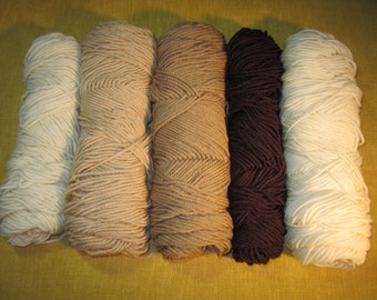5 skeins worsted wt yarn, brown, tan, buff, champagne antique white, 14 oz. total, knitting, crochet, unknown brand