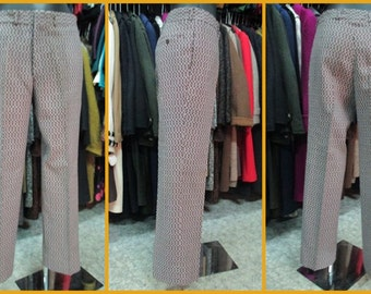 Pantaloni anni 60 in tessuto di lana operato.A sigaretta.Nuovi.Tg.46/Gorgeous 60s  worked woollen pants/Cigarette style/Deadstock/Size 30-31