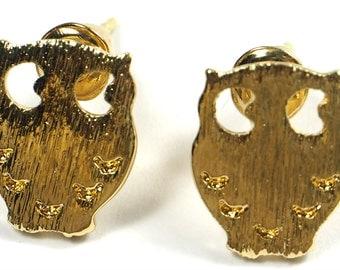 Gold Plated Owl Earrings