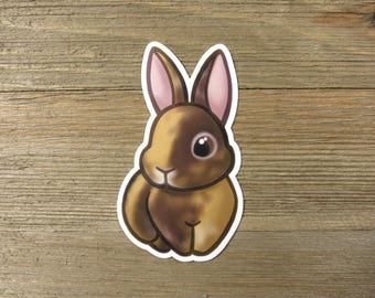 Chocolate Japanese harlequin rabbit sticker; printed chibi brown harlequin bunny vinyl sticker, waterproof, weatherproof
