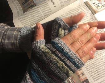 Mens hand warmers, fingerless gloves, wrist warmers, grey