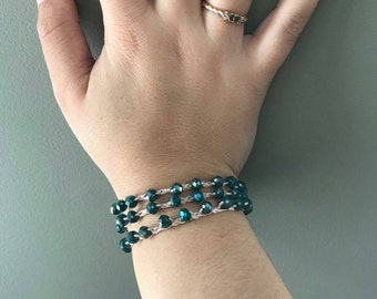 Crochet, Beaded, Wrap bracelet.