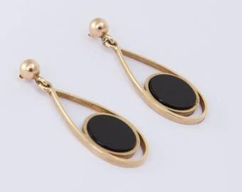 Vintage 9ct Yellow Gold & Onyx Drop Earrings