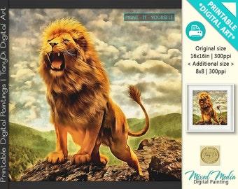 The Lion King, Lion King Painting, King of Animals • Animal world, Animal Art Decor • Painted Animals Printable Digital Wall Art, Home Decor