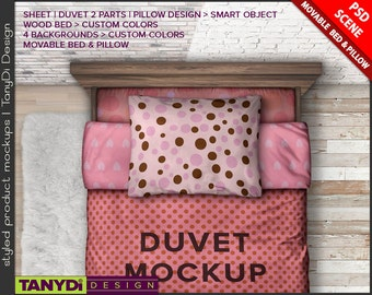 3 Pieces Bedding Set Photoshop Styled Mockup | Twin Bed Sheet Duvet Pillow Close-up top view | 2 Parts Duvet BS4