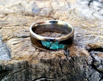 Bocote Wood Ring.  Turquoise Inlay.  Titanium 7mm Wide.