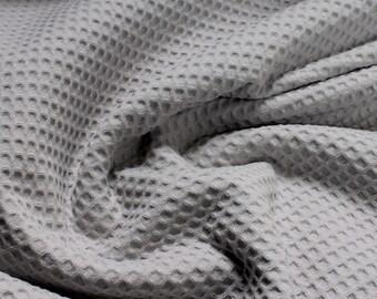 Fabric pure cotton honeycomb weave light grey waffle - weave Piqué