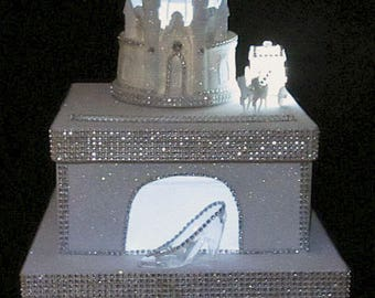 Lighted Cinderella Castle Wedding Card Box / Cake Topper