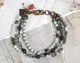 Amazonite bracelet Black stone bracelet Pale aqua jewelry Multistrand bracelet Gray bracelet with stones Boho chic bracelet Knotted bracelet