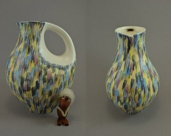 Rare vintage vase/jug / Schmider / 4112 / decor Harlekin | West Germany | WGP | 50s