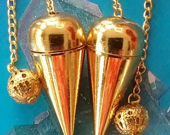 2 GOLD Witness Chamber DOWSING PENDULUMS With Chains And Storage Pouches