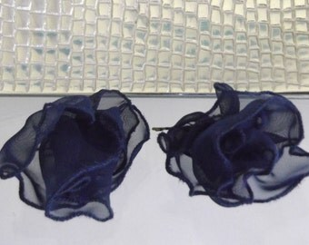 Set of 2 Navy Blue Chiffon Ruffle Flower Hairpins, Designer Handcrafted Item