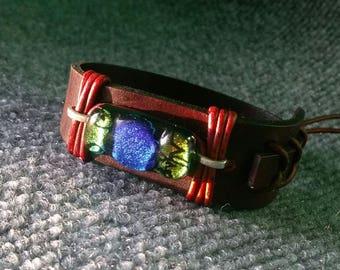 Handmade Dk. Brown Leather Bracelet w/Dichroic glass stone,Tie on