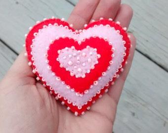 Felt Heart /Felt Ornament/  Valentine Gift / Christmas Ornament/ Handmade