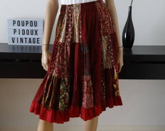 Jupe bohémienne gypsy bordeaux patchwork taille M / made in France