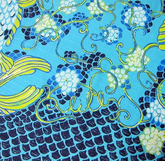1 yard 36 x 57 lilly pulitzer cotton dobby fabric koi for Koi fish print fabric