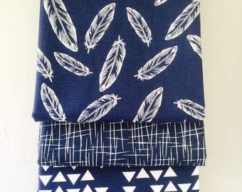 SALE!! 1/2 Yard Bundle By Popular Demand by Simple Simon for Riley Blake Designs with Hash Tag Fabric- 3 Fabrics Navy