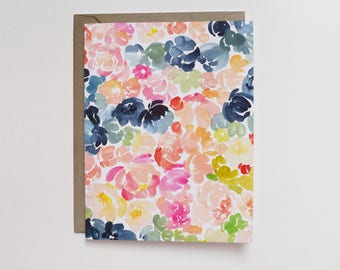 Watercolor Neon Floral A2 Greeting Card