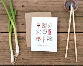 Roll With It Sushi Folded Notecard, Watercolor, Food Illustration, Say Hello, Stationary, Greeting Cards, Notecards