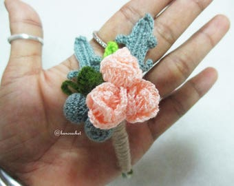 boutonniere, wedding, crochet, flowers, groom, flower for groom, boutonniere crochet, crochetwedding, crochet flowers, rose crochet,handmade