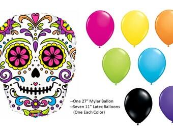 Sugar Skull Balloon Set, Day of the Dead Balloons