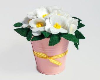 Little vase with white flowers in felt, nursery decor, home decor, little bucket with white felt flowers