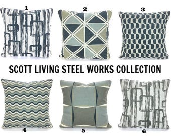 Gray Tan Decorative Throw Pillow Covers Cushions HGTV Scott Bros. Designer Fabric, Dark Blueish Charcoal, Tan Taupe Light Gray on Natural