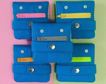 Hug Monster Wallet, Coin purse,  Light Blue, Handmade, silkscreen print