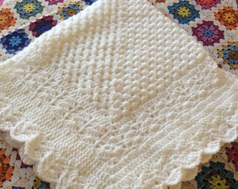 Crochet baby blanket granny square white christening  baptism baby shower gift satin ribbon