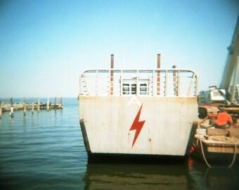 Boat at Dock, Fire Island NY, Holga, Lomography, fine art color photography print