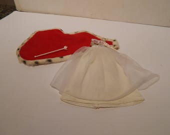 Vintage Walk Lively Miss America Barbie 3200 Gown and Faux Ermine Trimmed Coronation Robe and Scepter Mattel 1972