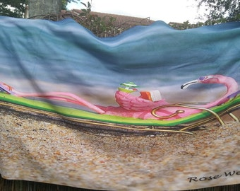 Flamingo on the Beach Towell