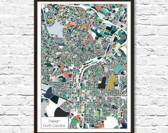 Raleigh NC, Raleigh Map, Raleigh Print, City Map, Abstract Art, Wall Art, Raleigh Poster Print, City Map Artwork, Raleigh Travel Map