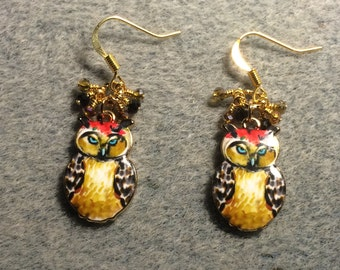 Amber, black and red enamel owl charm earrings adorned with tiny dangling amber and black Chinese crystal beads.