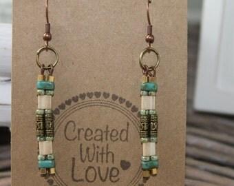 Earrings long beaded boho earrings bohemian gypsy chic dangle earrings gift for her trendy jewelry everyday jewelry blue bronse