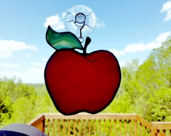 """4"""" Stained Glass Apple, Teacher Gift"""