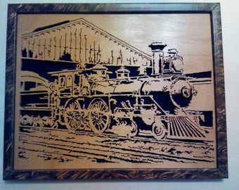 Framed scroll saw train picture