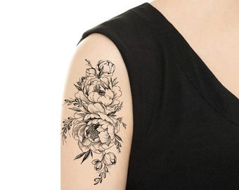 TEMPORARY TATTOO - Vintage Rose / Peony Tattoo - Various Patterns