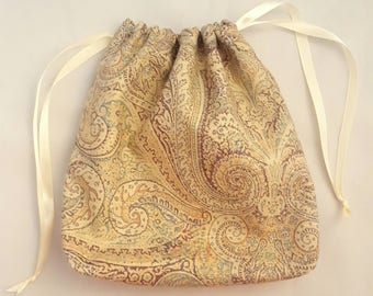 Paisley print, upholstery fabric, double drawstring bag