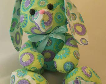 Sweet, floppy, soft stuffed bunny rabbit made from a Funky Friends Factory pattern.