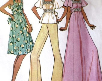 Vintage Hippie-Style Dress and Top Sewing Pattern - McCalls 4480 - Size 14 - Womans Dress & Top Pattern