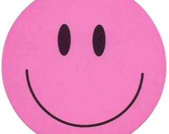 Pink Happy Face Sticker / Decal, Smiley Face, Sixties, Retro, Hippie