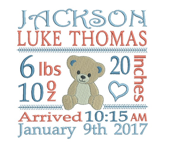 Birth Announcement Template Embroidery Design Subway Art Baby – Baby Boy Birth Announcements Templates