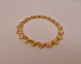 Free Ship* Vintage Gold Tone Riveted Link Bracelet/Retro Costume Jewelry & Accessories