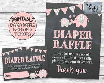 INSTANT DOWNLOAD - Printable Diaper Raffle Tickets And Sign / Baby Shower / Invitation / Cards / Pink Elephant / Chalkboard / Gray / PE001