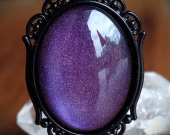 Purple Holographic Galaxy Sparkle Black Ornate Setting Hand Made Necklace