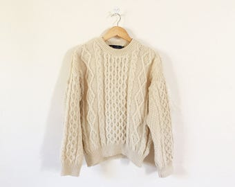 Classic Tivoli Wool Irish Aran Knitted Sweater