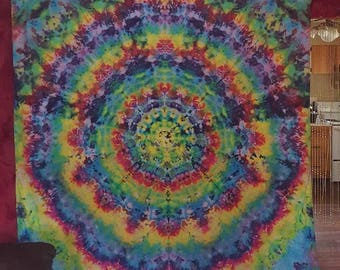 Large 9'x12' Rainbow Spiral Psychedelic Mandala Bright Tie Dye Tapestry Wall Hanging Ooak Hand Dyed Cotton Trippy Home Festival Decor